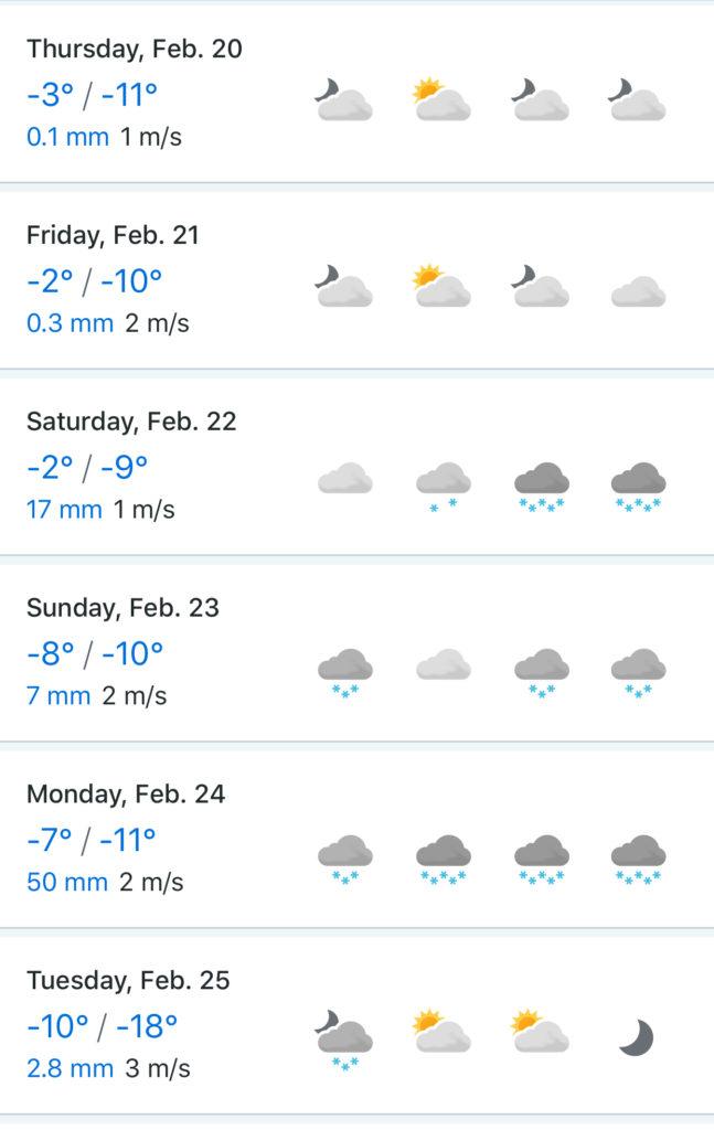 Прогноз погоды на 23-е февраля